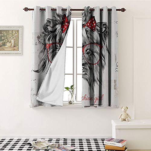 Mozenou Animal, Window Curtain Drape, I am a Fashion Girl Quote Sketch Cute Hipster Dog with Sunglasses and Red Bow, Customized Curtains W55 x L63 Inch Red Black ()