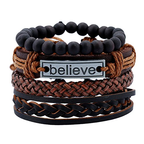 Yel and Elf Braided Leather Rope Cuff Bracelet Unisex Wooden bead Stretch Wristband Stack Bangle