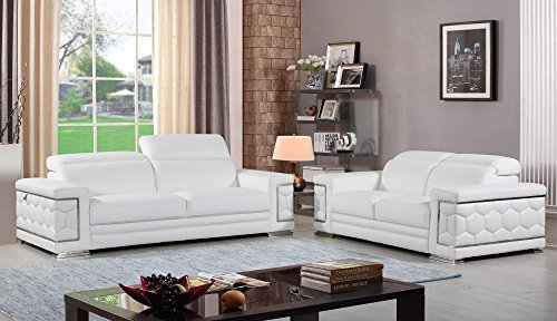 Blackjack Furniture The Usry Collection 2-Piece Genuine Italian Leather Living Room Sofa Set, White ()