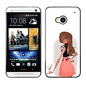 Colorful Printed Hard Protective Back Case Cover Shell Skin for HTC One M7 ( Cocktail Drink Alcohol Girl Woman Club )