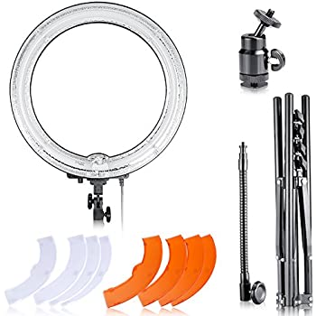 Neewer 10086031 Dimmable 18-Inch Diameter 75W Ring Fluorescent Flash Light And Stand Kit
