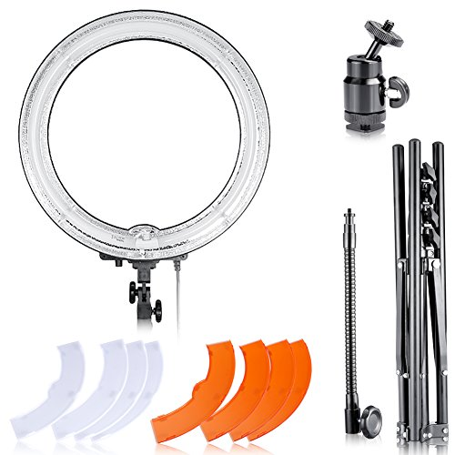 Neewer 10086031 Dimmable 18-Inch Diameter 75W Ring Fluorescent Flash Light Kit