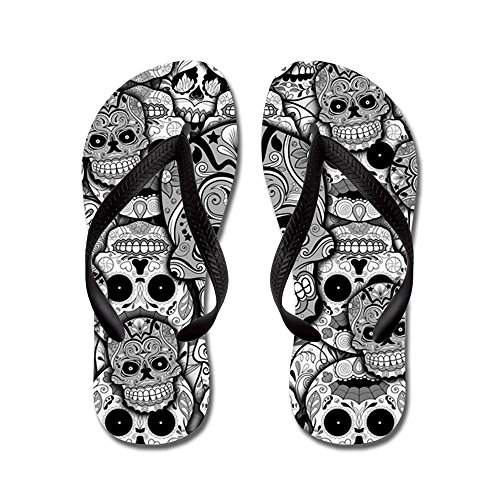 CafePress Sugar Skulls - Flip Flops, Funny Thong Sandals, Beach Sandals Black