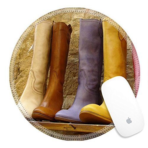 Luxlady Round Gaming Mousepad italian fine leather multicolor boots collection IMAGE ID - Collection Gla