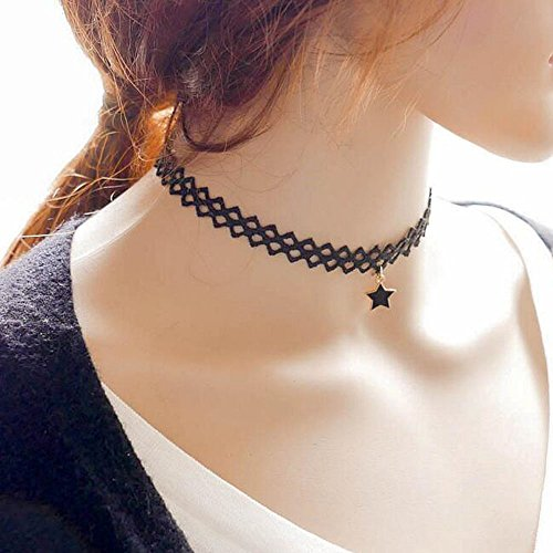 Weave Choker - A&C Fashion and Charm Gypsy Lace Choker Pendant Necklace for Women. Gothic Weave Collar Necklace for Girl.