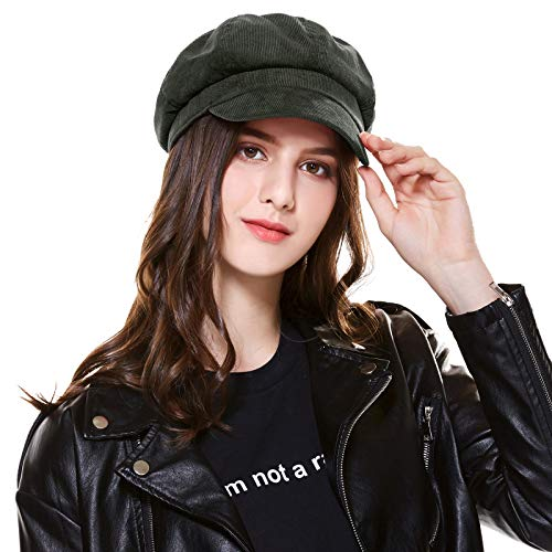 Kajeer Floppy Berets Corduroy Newsboy Cap for Women (Ink Green)