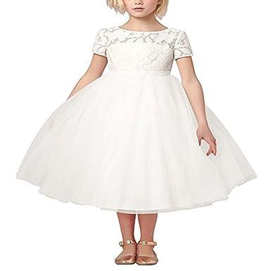 917e166fdeb1 iiniim White Flower Girl Dress Lace Princess Weddings Christening ...