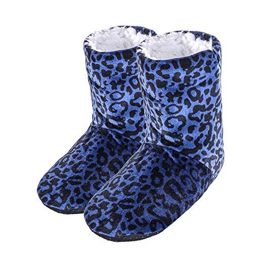 FRALOSHA Women Leopard indoor shoes home indoor Non-slip boots Floor Shoes Lady Winter Indoor Soft Household Plush long boots Blue