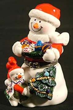 Christmas Santa Snowman Christmas Tree Trinket Box phb