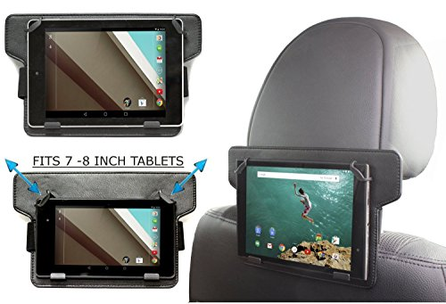 "Price comparison product image Navitech In-Car Back Seat Leather Headrest Mount For The All-New Fire HD 8 Tablet with Alexa, 8"" HD Display, 32 GB, Black, Punch Red, Marine Blue, Canary Yellow"