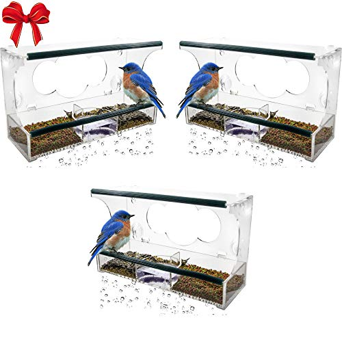 Birdious 3 Pack Deluxe Window Bird Feeder with Strong Suction Cups & Seed Tray, Enjoy Clear View Wild Birds. Best Gift Idea ()