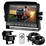 Dual Backup Camera with Monitor Kit System(12-24V) 7' HD Monitor Reversing +2 Rear View 170° Wide Angel Night Vision Waterproof,18 Infrared Lights Camera Fit for Trucks/RV/Van/Campers/Vehicles.