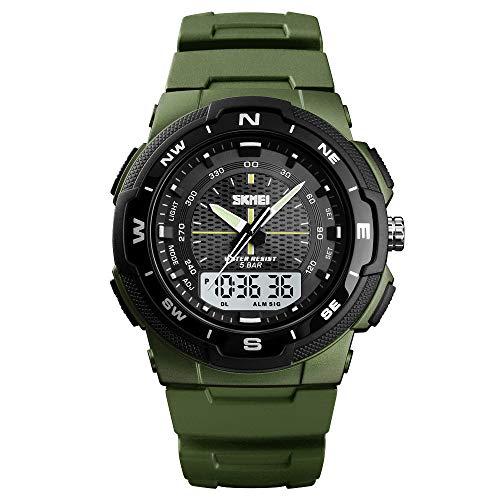 NRUTUP Waterproof Alarm Date Sport Analog Digital LED Backlight Wrist Watch Hot Sales(Army Green,Free Size)