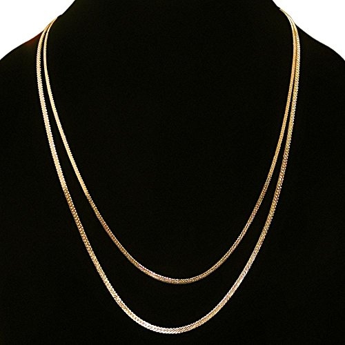 Gold Plated Vintage Herringbone Double Chain Necklace, Looks Real! Made in USA!, in Gold Tone