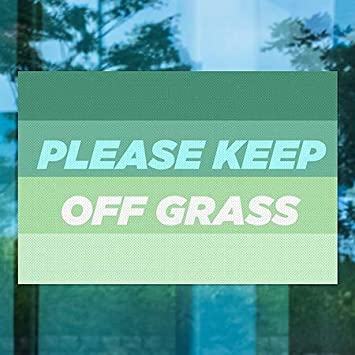 CGSignLab 5-Pack 30x20 Please Keep Off Grass Modern Gradient Perforated Window Decal