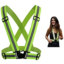 Itian Lightweight Bright Reflective Adjustable Safety Security High Visibility Vest Strap for Running Riding Cycling Jogging Walking Motorcycle