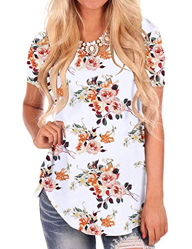 - White Floral Tops for Women Short Sleeve V Neck Shirts Summer Fall Tunics M