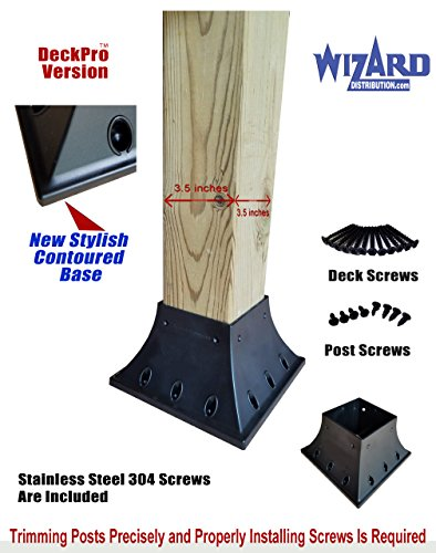 Railing Post Anchor - 4x4 Post Base Support Flange Pro Version Handrail Support (actual size 3.5