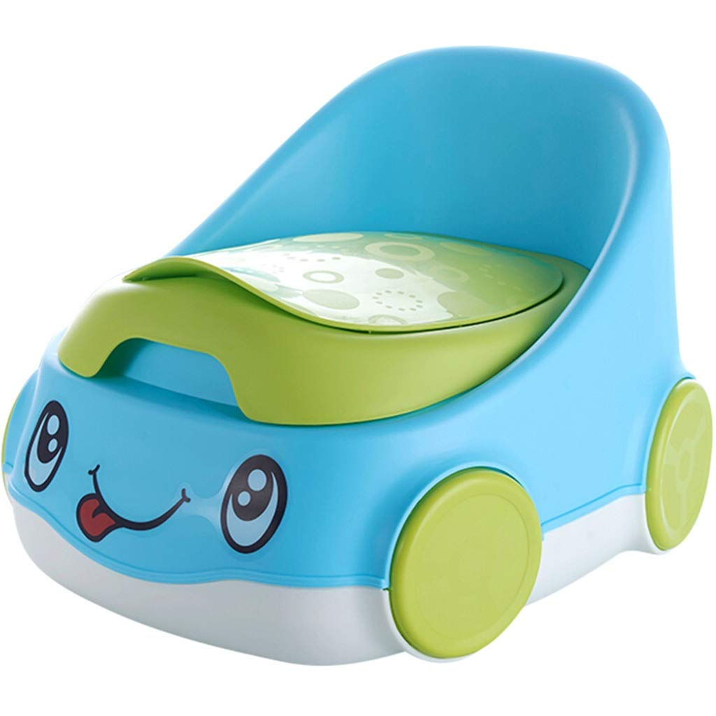 XWJC Children's Toilet Baby Toilet Male and Female Baby Car Cartoon Shape Toilet Urinal Potty (Color : Blue)