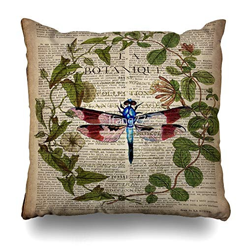 - Ahawoso Throw Pillow Cover Square 20x20 Inches Modern Leaves Botanical Art Vintage French Dragonfly Decorative Pillow Case Home Decor Pillowcase