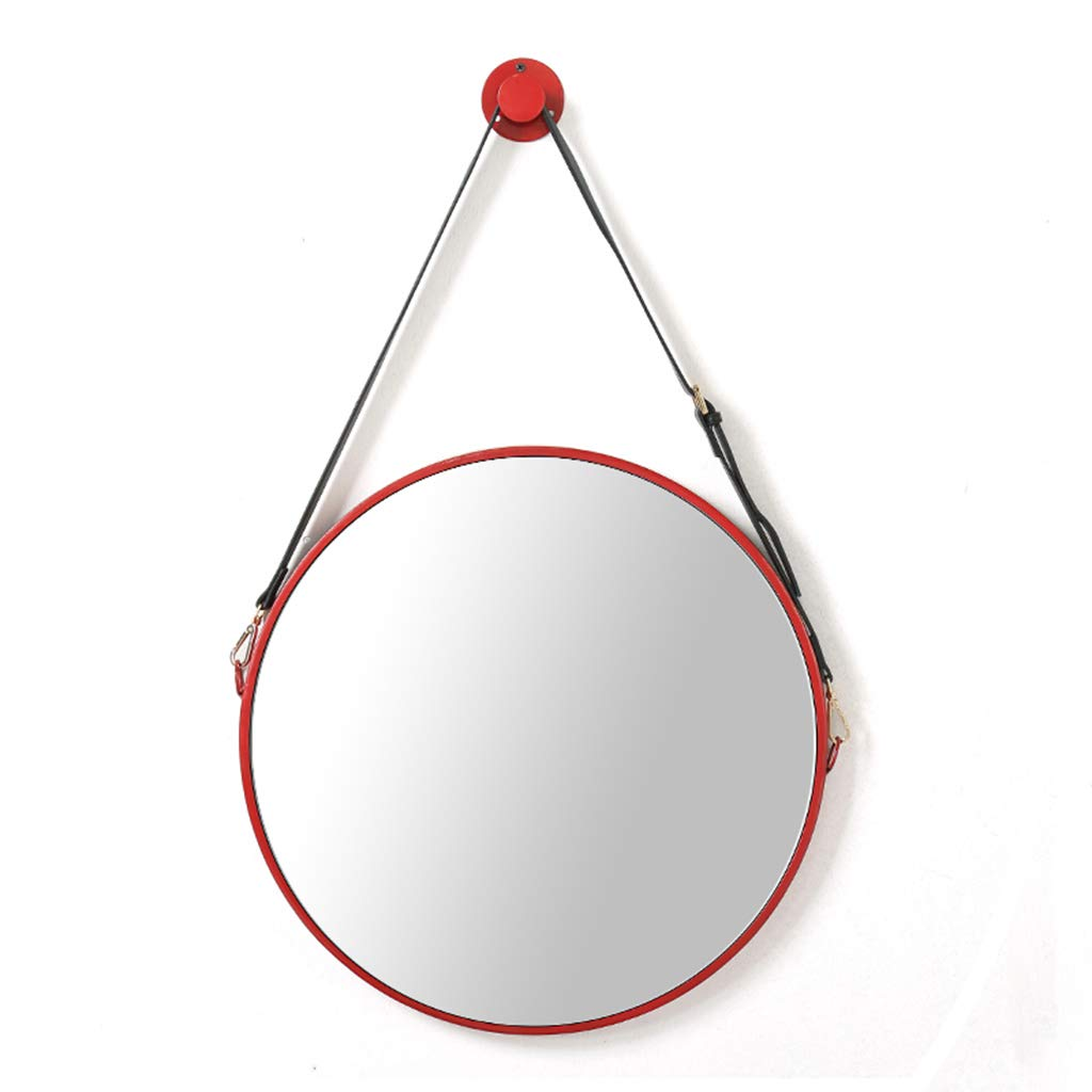 Red 60cm(23.6″) Round Clean Mirror with Hanging Strap   Modern Wall Mount Metal Framed Mirrors for Bedroom, Bathroom & Living Room