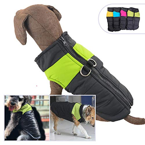 Lovelonglong Dog Winter Coat Warm Down Jacket, Windproof Dog Jackets Puffer Vest with Zipper and Leash Ring for Large Medium Small Dogs,Extra Protection for Outdoor Cold Weather Green L-S (Ls Dark Green)
