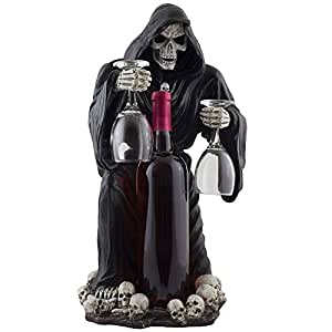 Scary Grim Reaper Wine Valet with Wine Glass Holder and Decorative Liquor Bottle Display Stand Statue for Gothic Bar Decor and Tabletop Wine Rack Halloween Decorations As Spooky Gifts for Wine Lovers