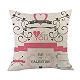 Cyhulu Kawaii 18x18 Inch Quote Throw Creative Cartoon Heart Print Square Pillow Case Cushion Cover Lover Gifts for Happy Valentine's Day Home Bed Sofa Living Room DIY Decoration (E, One size)