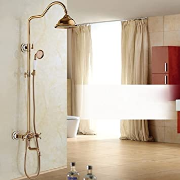 Luxurious shower Mejor calidad de pared ducha grifo precipitaciones de palanca dual en pared exterior Columna de ducha hidromasaje + ducha de mano + llenado,Rose Golden: Amazon.es: Bricolaje y herramientas