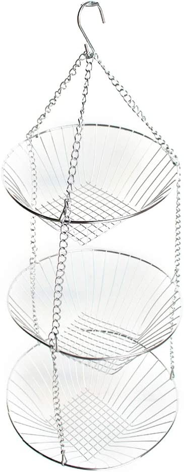 TOPBATHY Hanging Fruit Baskets 3 Tier Stainless steel Wire Vegetable Rack Detachable Customizable Round Display Basket
