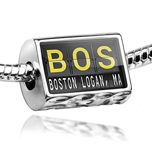 Charm BOS Airport Code for Boston - Logan, MA - Bead Fit All European - Ma Logan Boston