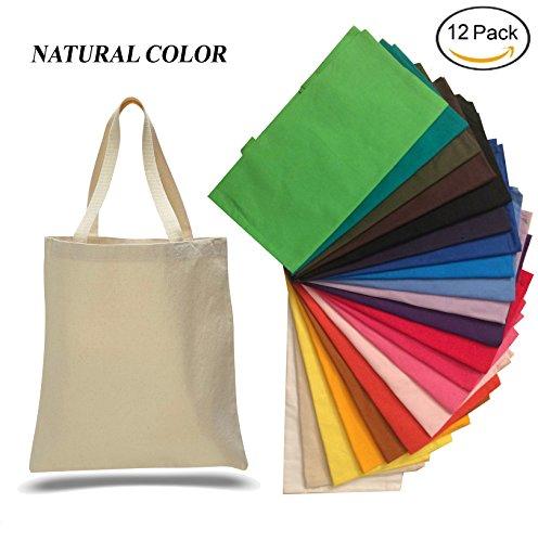 (12 Pack) 1 Dozen - Heavy Cotton Canvas Tote Bag (Natural)