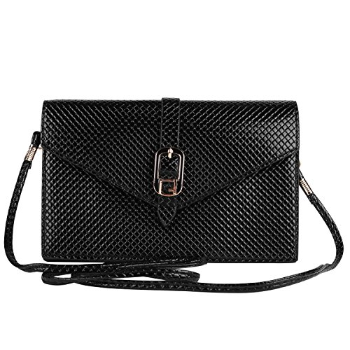 VanGoddy Diamond Hatched Slim Solid Black Slim Cross Body Shoulder Bag Clutch Fit for Cell Phones Up to 6.75inches