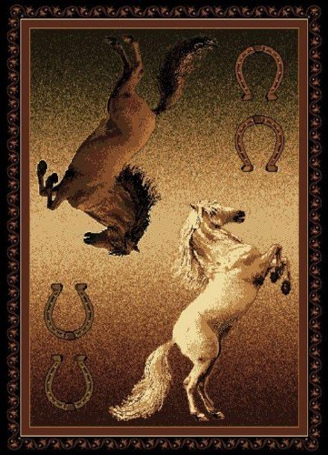 United Weavers Legends Area Rug 910-05850 Ponies Horses Rectangle, Black