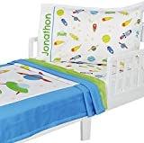 3pc RoomCraft Blast Off Personalized Toddler Bedding Set Outer Space Rocket Ships Blanket Sheet and Pillowcase Set
