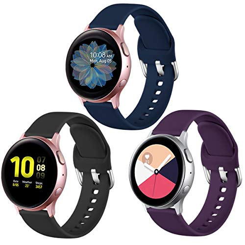 Lerobo Bands Compatible with Samsung Galaxy Watch Active/Active 2 40mm 44mm/Galaxy Watch 42mm Watch Band for Women Men, 20mm Soft Silicone Sport Strap Replacement Wristbands, 3-Pack, Small, Large