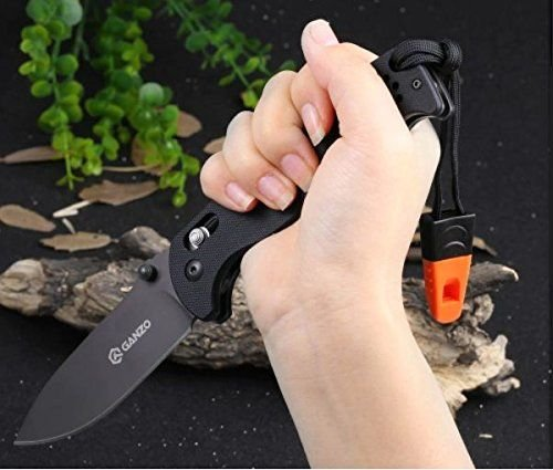 ((Dark Knight) G10 Fiber Glass Anti-Slip Handle Scales Steel Axis Lock Folding Tactical Survival Knife Dark Coating Blade with Clip, Whistle & Pouch by Ganzo Firebird)
