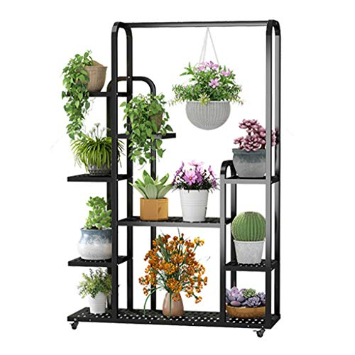 G-HJLXYZWJHOME Metal Potted Flower Pot Rack Bracket Multi-Layer Indoor Balcony Flower Pot Storage Shelf Decorative Plant Cabinet, Thick Galvanized Stainless Steel Tube
