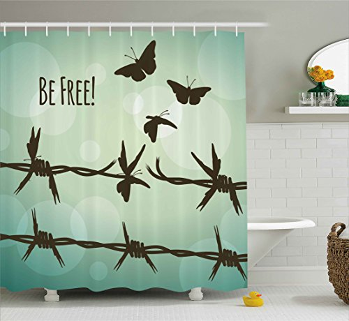 Ambesonne Barbed Wire Decor Collection, Barbed Wire Turning Into Flying Butterflies Liberty Broken Fences Art Quotes Be Free, Polyester Fabric Bathroom Shower Curtain Set with Hooks, Brown Teal