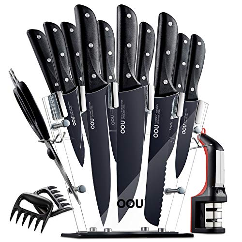 OOU Knife Set, 15 Piece Kitchen Knife Set, High Carbon Stainless Steel Full Tang, FDA Certified BO Oxidation for Anti-rusting, Ultra Sharp Premium Edge Tech, Black Chef Series
