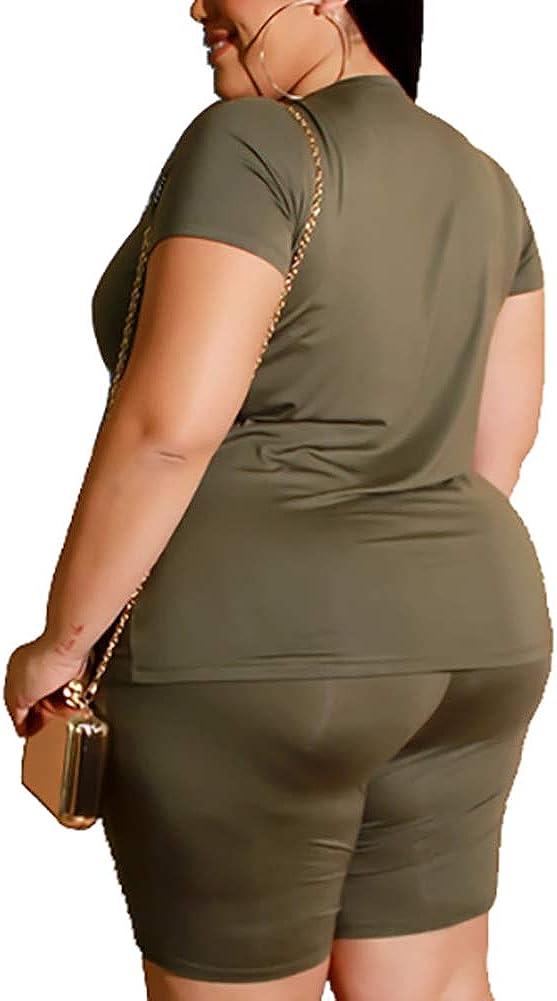 Plus Size Short Sets Two Piece Outfit Plus Size T Shirt Tops Shorts Joggers