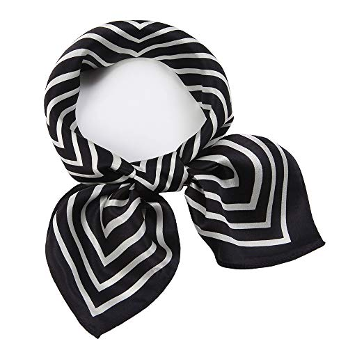 carf Square Hair Scarves Fashion Stripe Neck Scarfs for Women Black 20