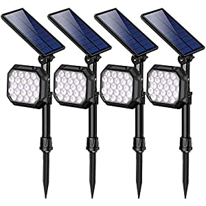 ROSHWEY Solar Spot Lights Outdoor, 22 LED Bright Landscape Light Waterproof Security Lamps for Yard, Pathway, Walkway, Garden, Driveway – Cool White, 4 Pack