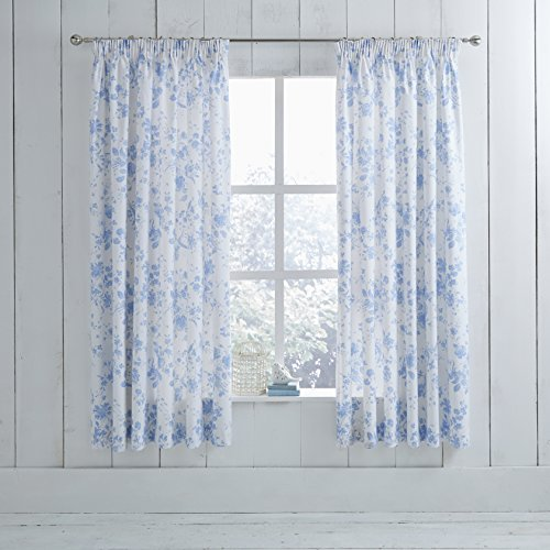 Classic Charlotte Thomas Amelie Pencil Pleat Ready Made Curtains With Tiebacks Blue