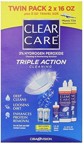 Clear Care 3% de peroxyde d'hydrogène Taille Triple Action nettoyage Triple Action 2x16oz + 3 oz Voyage (Pack de 2)