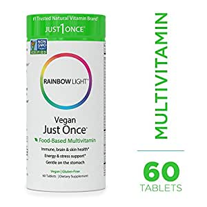 Rainbow Light - Just Once Multivitamin - Food-based, Natural Ingredients, Provides Key Vitamins, Minerals, Antioxidant Protection, Supports Energy, Digestion, Skin, Eye and Immune Health - 60 Tablets