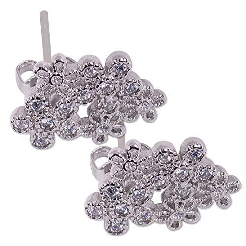 1Pair Fashion Women Flower Silver Plated Zircon Earrings Ear Stud -