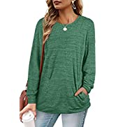 WIHOLL Sweaters for Women Long Sleeve Crewneck Sweatshirts with Pockets Tunic Tops Shirts