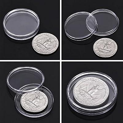 100 Piezas de Cápsulas de Monedas Redondas Funda de Monedas de Plástico con Caja de Organizador de Almacenaje para Materiales de Colección de Monedas (27 mm): Hogar