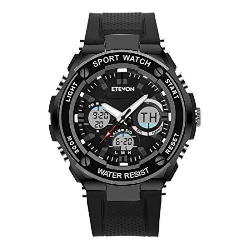 Mens Digital Watch Quartz Analog with LED Blacklight Waterproof Military Outdoor Sports (Mens El Analog Sport Watchs)